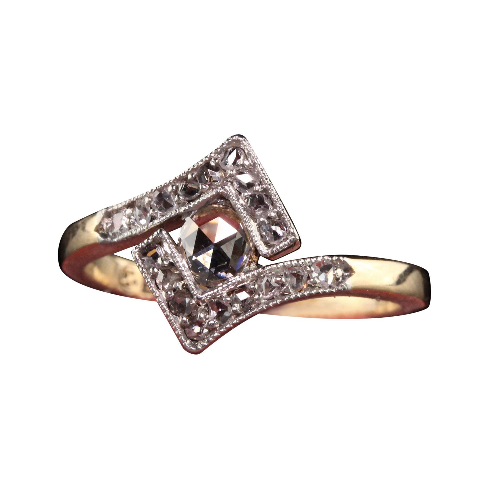 Antique Victorian 18K Yellow Gold Platinum Top Rose Cut Diamond Ring