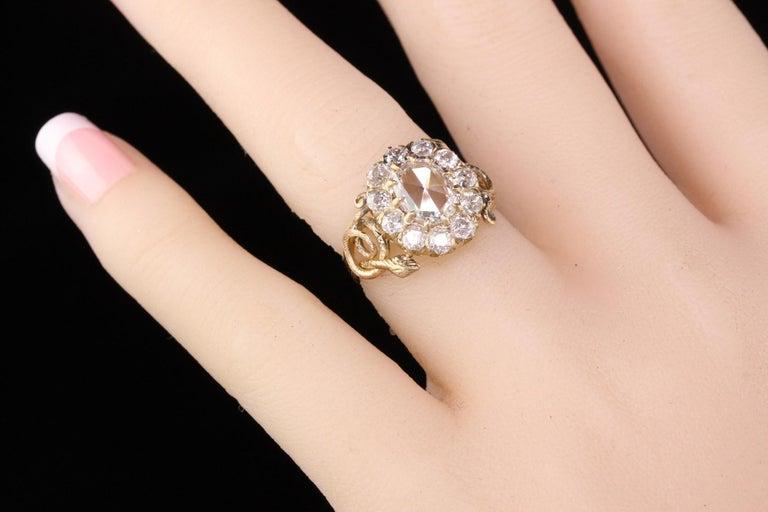 Antique Victorian 18 Karat Yellow Gold Rose Cut Diamond Engagement Ring For Sale 6