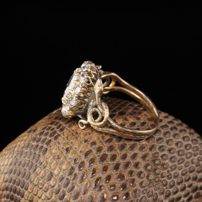 Antique Victorian 18 Karat Yellow Gold Rose Cut Diamond Engagement Ring In Excellent Condition For Sale In New York, NY