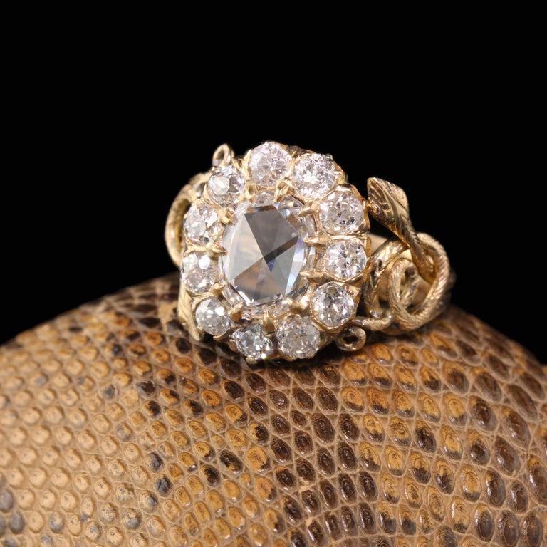 Women's Antique Victorian 18 Karat Yellow Gold Rose Cut Diamond Engagement Ring For Sale