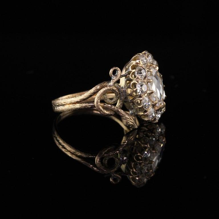 Antique Victorian 18 Karat Yellow Gold Rose Cut Diamond Engagement Ring For Sale 2