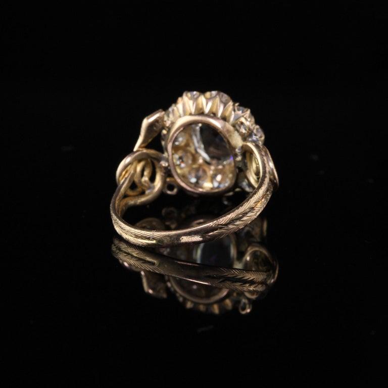 Antique Victorian 18 Karat Yellow Gold Rose Cut Diamond Engagement Ring For Sale 3