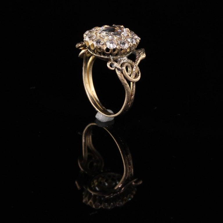 Antique Victorian 18 Karat Yellow Gold Rose Cut Diamond Engagement Ring For Sale 5