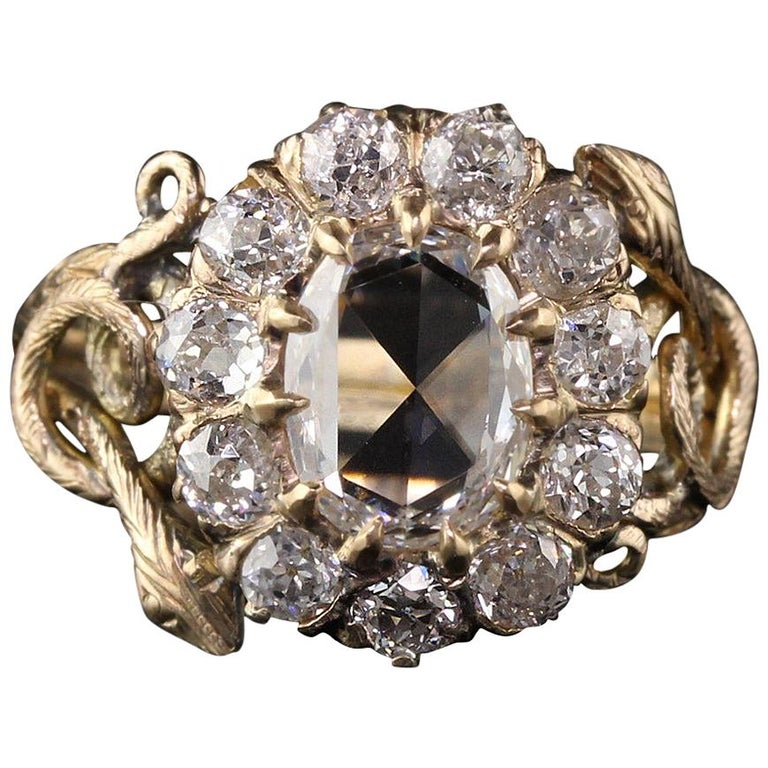 Antique Victorian 18 Karat Yellow Gold Rose Cut Diamond Engagement Ring For Sale