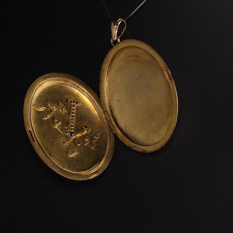 Antique Victorian 18 Karat Gold Rose Cut Diamond Ruby Sapphire Anchor Locket For Sale 1