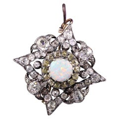 Antique Victorian 18K Yellow Gold Silver Top Old Mine Diamond and Opal Pin Penda