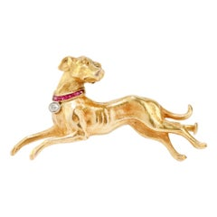 Antique Victorian 18kt Yellow Gold Dog Brooch, 1860's