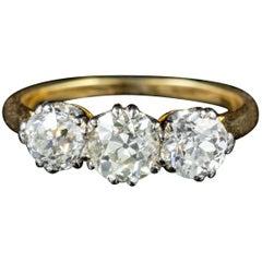 Antique Victorian 1.90 Carat Diamond Trilogy circa 1900 Engagement Ring