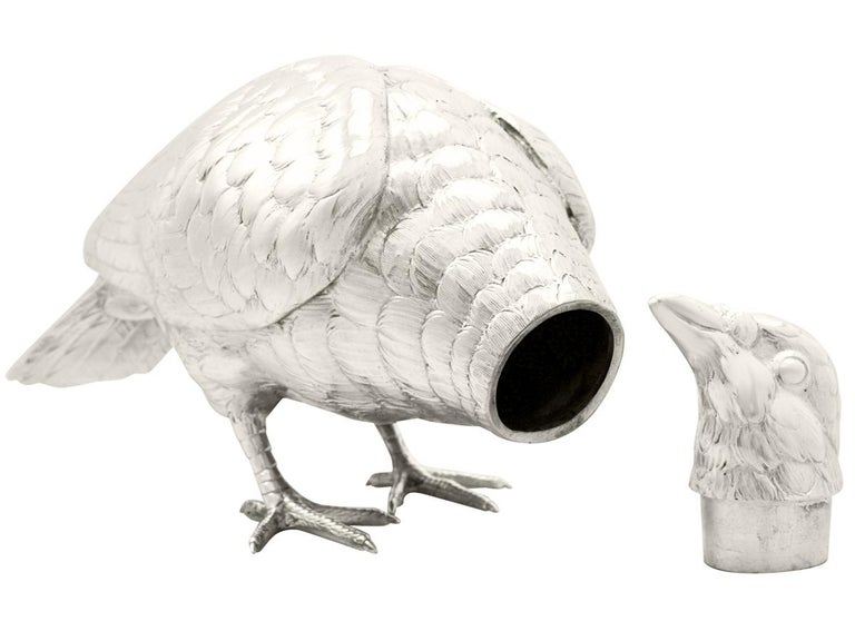Victorian Antique Edwardian 1903 Sterling Silver Rock Dove / Pigeon Sugar Box For Sale