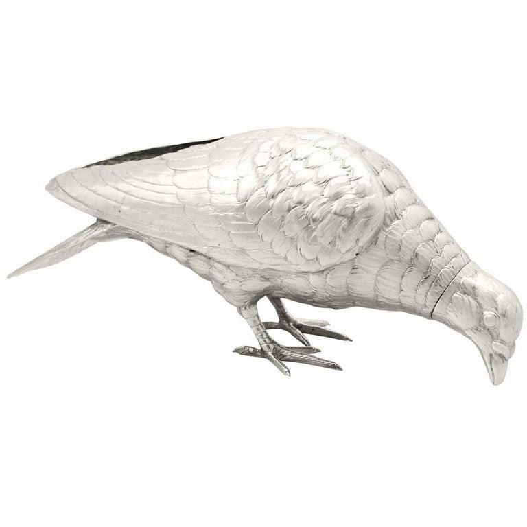 Antique Edwardian 1903 Sterling Silver Rock Dove / Pigeon Sugar Box For Sale