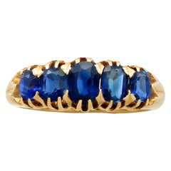 Antique Victorian 1.93 Carat Sapphire and Yellow Gold Five-Stone Ring