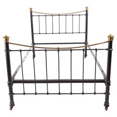 Antique Victorian 19th Century Brass and Iron Bed