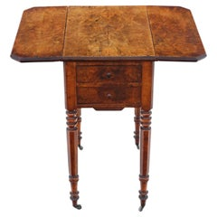 Antique Victorian 19th Century Burr Walnut Drop Leaf Work Table