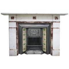 Antique Victorian 19th Century Carrara and Alabaster marble Fireplace Surround