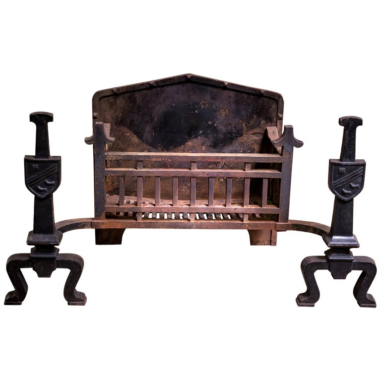 Antique Victorian 19th Century Cast Iron Fire Grate & Andirons For Sale