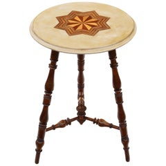 Antique Victorian 19th Century Decorated and Inlaid Beech Cricket Table