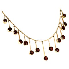 Antique Victorian 19th Century Garnet Fringe, Drop Necklace in Yellow Gold