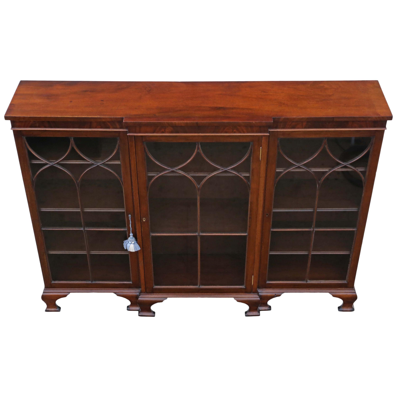 Antique Victorian 19th Century Mahogany Adjustable Glazed Breakfront Bookcase