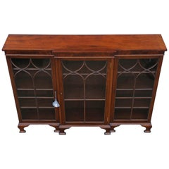 Antique Victorian 19th Century Mahogany Adjustable Glazed Breakfront Bookcase