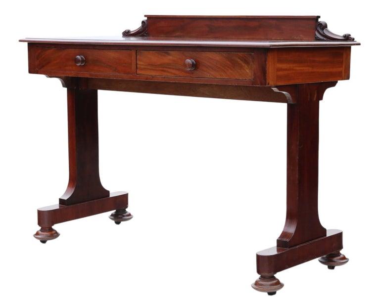 Antique Victorian 19th Century Mahogany Writing Desk Dressing Table 2