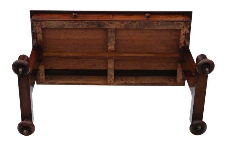Antique Victorian 19th Century Mahogany Writing Desk Dressing Table 5