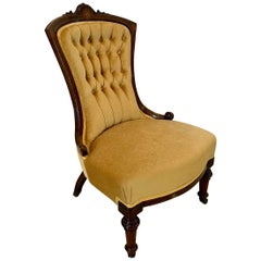 Antique Victorian 19th Century Walnut Inlaid Ladies Chair