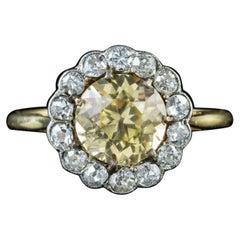 Antique Victorian 2 Carat Yellow Sapphire Diamond 18 Carat Gold circa 1880 Ring