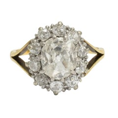 Antique Victorian 2.1 Carat Old Cut Diamond Cluster Ring