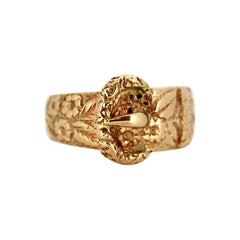 Antique Victorian 22 Karat Yellow Gold Ring Band in the Shape of a Belt, 1894