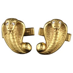 Antique Victorian 22 Karat and 14 Karat Yellow Gold Diamond Snake Cufflinks