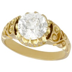 Antique Victorian 2.30 Carat Diamond Yellow Gold Solitaire Ring