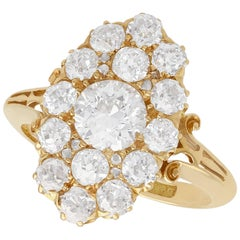 Antique Victorian 2.35 Carat Diamond and Yellow Gold Cocktail Ring