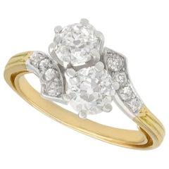 Antique Victorian 2.36 Carat Diamond and Yellow Gold Twist Ring