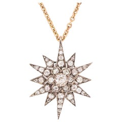 Antique Victorian 2.44 Carat Diamond Star Pendant