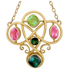 Antique Victorian 2.65 Carat Tourmaline and Peridot Yellow Gold Necklace