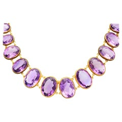 Antique Victorian 274.91 Carat Amethyst and Yellow Gold Rivière Necklace
