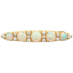 Antique Victorian 2.78 Carat Opal and Diamond Yellow Gold Bar Brooch