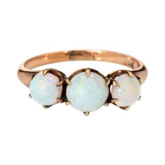 Antique Victorian 3 Opal Trilogy Ring Vintage 10k Rose Gold Fine Jewelry
