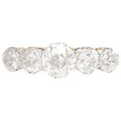 Antique Victorian 3.06 Carat Old European Cut Diamond 5-Stone Ring