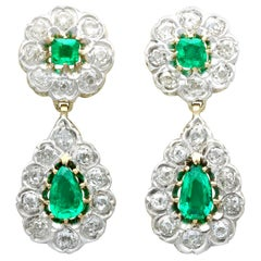 Antique Victorian 3.18 Carat Emerald and 3.23 Carat Diamond Drop Earrings