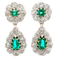 Antique Victorian 3.18 Carat Emerald and 3.23 Carat Diamond Drop Earrings