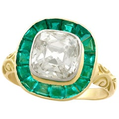 Antique Victorian 3.25 Carat Emerald and 1.92 Carat Diamond Yellow Gold Ring