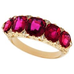 Antique Victorian 3.54 Carat Ruby and Diamond Yellow Gold Cocktail Ring