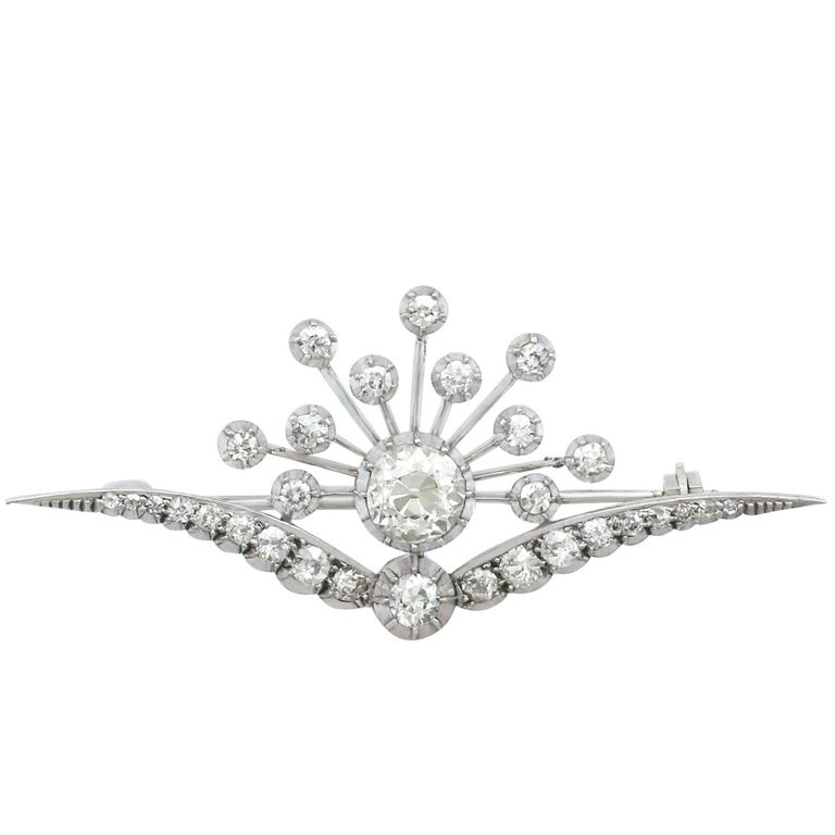 Antique Victorian 3.87 Carat Diamond and White Gold Brooch