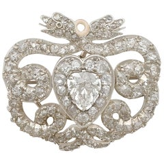 Antique Victorian 3.90 Carat Diamond and Yellow Gold Brooch