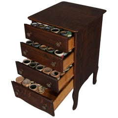 Antique Victorian 4-Drawer Oak Edison Phonograph Music Case & 108 Cylinders