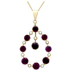 Antique Victorian 4.12 Carat Amethyst and Pearl Yellow Gold Pendant