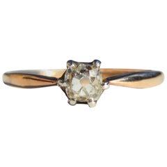 Antique Victorian .46 Carat Minecut Diamond 14 Karat Rose Gold Engagement Ring