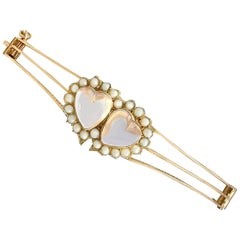 Antique Victorian 4.90 Carat Moonstone and Seed Pearl Rose Gold Bangle