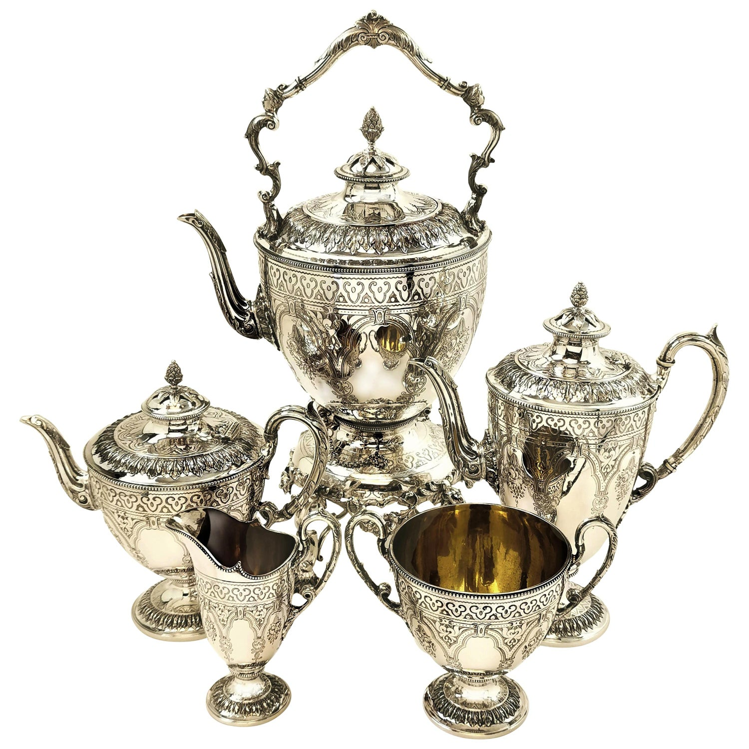 Antique Victorian 5 Piece Silver Tea and Coffee Set with Kettle, 1881 / 82